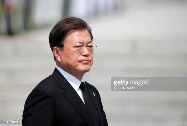 South Korean President Moon Jaein attends a Memorial Day ceremony at the national cemetery in Daejeon on June 6 2020