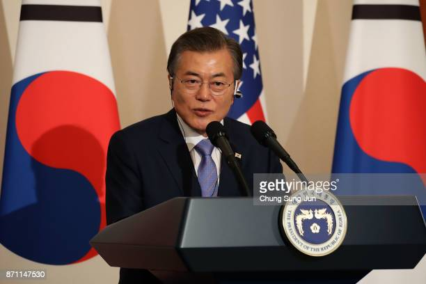 South Korean President Moon JaeIn attends the joint press conference at the presidential Blue House on November 7 2017 in Seoul South Korea Trump is...