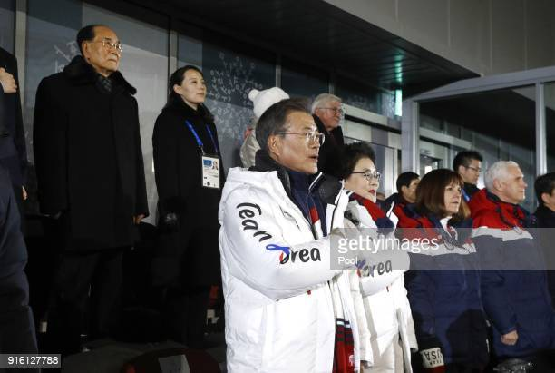 South Korean President Moon Jaein center stands alongside first lady Kim Jungsook US second lady Karen Pence and US Vice President Mike Pence as the...