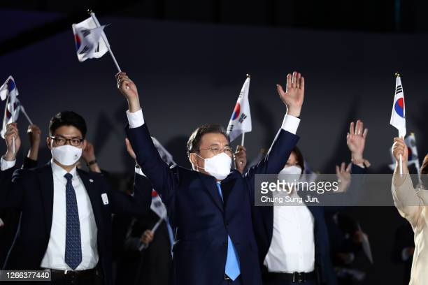 South Korean President Moon Jaein cheers during the celebration of the 75th anniversary of the Liberation Day at Dongdaemun Design Plaza on August 15...