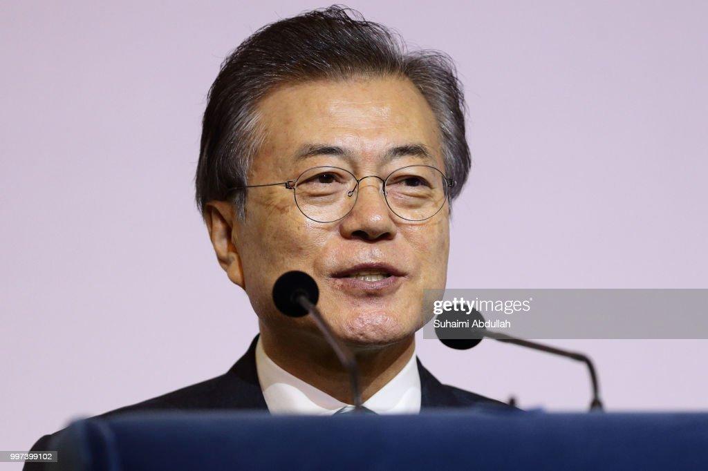South Korean President Moon Jae-in Visits Singapore : Nachrichtenfoto