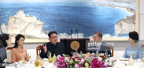 South Korean president Moon Jaein first Lady Kim Jungsook and North Korean leader Kim Jongun and North Korean first Lady Ri Sol Ju attend Dinner...