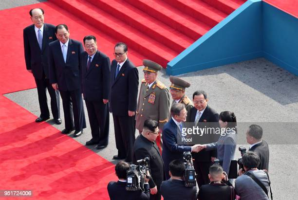 South Korean President Moon Jaein greets North Korean leader Kim Jong Un's sister Kim Yo Jong during the official welcome ceremony ahead of the...