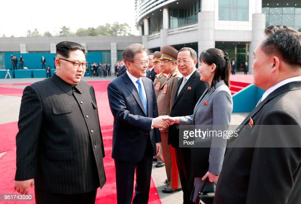 South Korean President Moon Jaein greets North Korean leader Kim Jong Un's sister Kim Yo Jong ahead of the InterKorean Summit on April 27 2018 in...