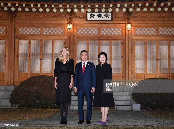 South Korean President Moon JaeIn his wife Kim JungSook and Ivanka Trump pose for photograph during their dinner at the Presidential Blue House on...