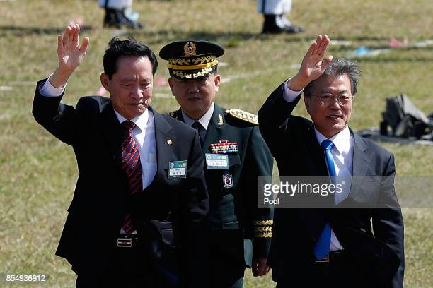 South Korean president Moon JaeIn inspects the South Korean soldiers during the 69th South Korea Armed Forces Day on September 28 2017 in Pyeongteak...