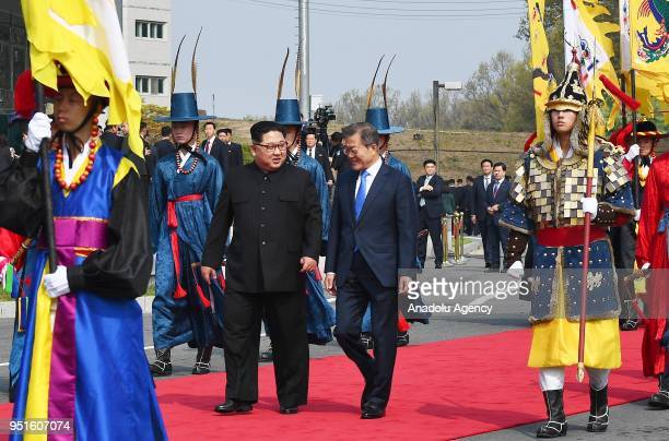 South Korean President Moon Jaein meets with North Korean leader Kim Jongun during a meeting at the southern side of the truce village of Panmunjom...