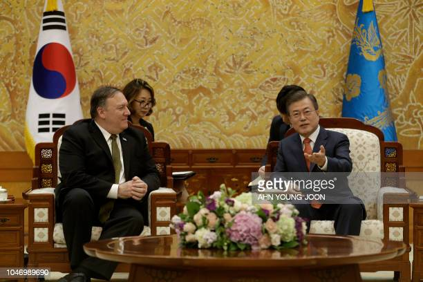 South Korean President Moon Jaein meets with US Secretary of State Mike Pompeo during a meeting at the presidential Blue House in Seoul on October 7...