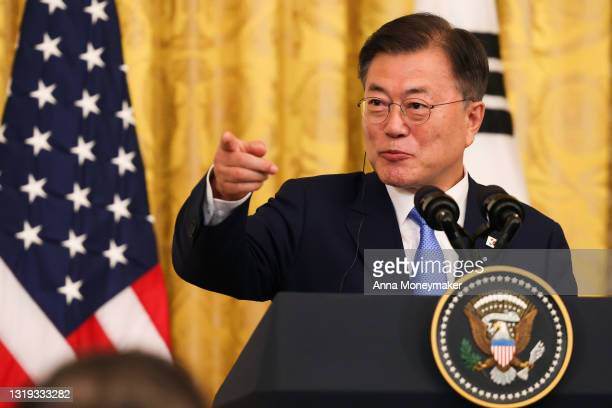 South Korean President Moon Jae-in speaks at a joint press conference with U.S. President Joe Biden in the East Room of the White House on May 21,...