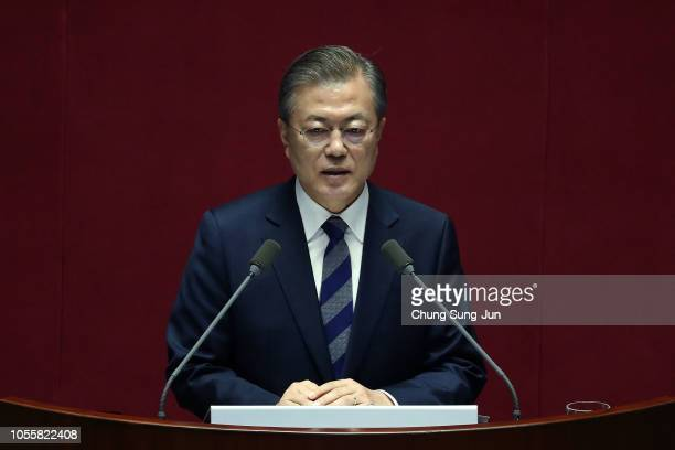 South Korean President Moon Jae-in speaks at the National Assembly on November 1, 2018 in Seoul, South Korea. President Moon spoke for parliamentary...