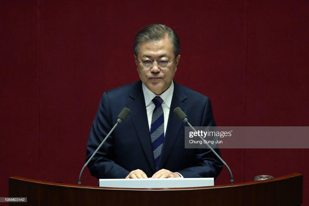 South Korean President Moon Jae-in Speaks On Government Budget : News Photo