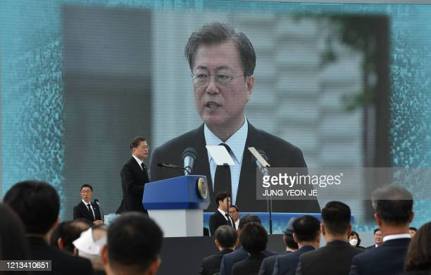 South Korean President Moon Jaein speaks during a ceremony marking the 40th anniversary of the prodemocracy Gwangju Uprising at May 18 Democracy...