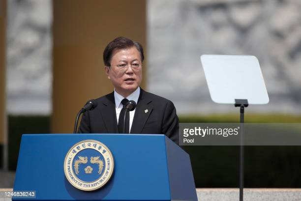 South Korean President Moon Jaein speaks during a ceremony marking Korean Memorial Day at the Daejeon National cemetery on June 6 2020 in Daejeon...