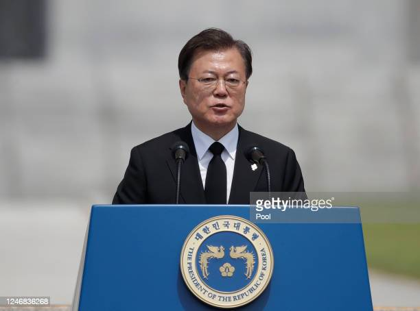 South Korean President Moon Jae-in speaks during a ceremony marking Korean Memorial Day at the Daejeon National cemetery on June 6, 2020 in Daejeon,...