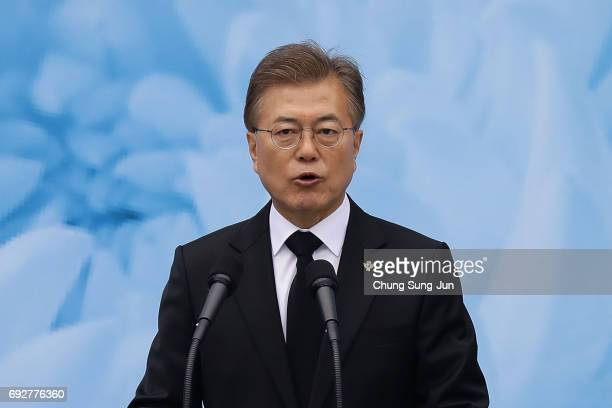 South Korean President Moon Jaein speaks during a ceremony marking Korean Memorial Day at the Seoul National cemetery on June 6 2017 in Seoul South...