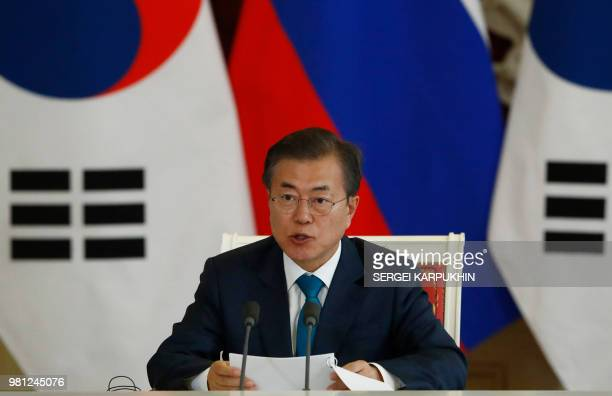 South Korean President Moon Jae-in speaks during a joint news conference with Russian President Vladimir Putin following the talks at the Kremlin in...