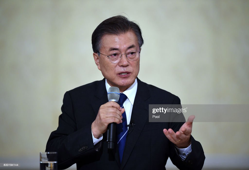 South Korean President Moon Jae-in speaks during a press conference marking his first 100 days in office at the presidential blue house on August 17, 2017 in Seoul, South Korea.