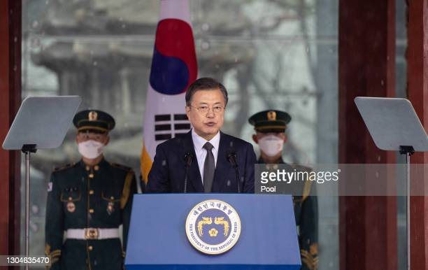 South Korean President Moon Jae-in speaks during the 102nd Independence Movement Day ceremony on March 01, 2021 in Seoul, South Korea. South Koreans...
