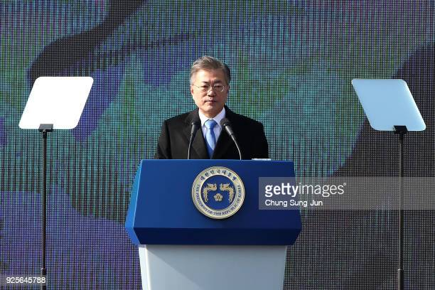 South Korean President Moon Jae-In speaks during the 99th Independence Movement Day ceremony at Seodaemun Prison History Hall on March 1, 2018 in...