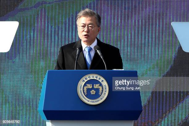 South Korean President Moon JaeIn speaks during the 99th Independence Movement Day ceremony at Seodaemun Prison History Hall on March 1 2018 in Seoul...