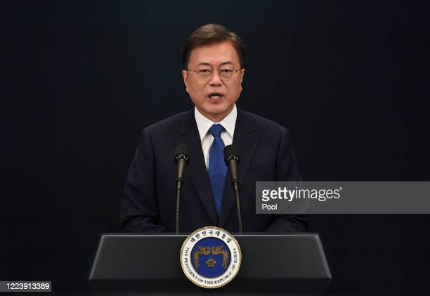 South Korean President Moon Jae-in speaks on the third anniversary of his inauguration at the presidential Blue House on May 10, 2020 in Seoul, South...