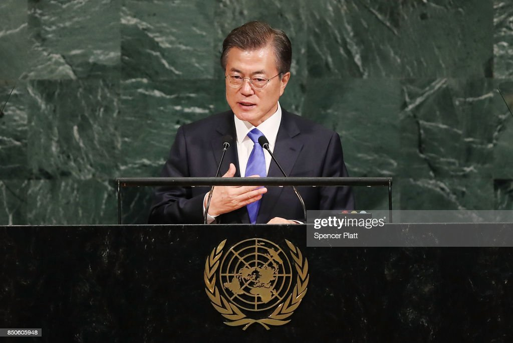 South Korean president Moon Jae-in speaks to world leaders at the 72nd United Nations (UN) General Assembly at UN headquarters on September 21, 2017 in New York City. Topics to be discussed at this year's gathering include Iran, North Korea and global warming.