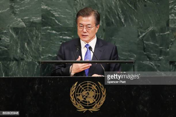 South Korean president Moon Jaein speaks to world leaders at the 72nd United Nations General Assembly at UN headquarters on September 21 2017 in New...