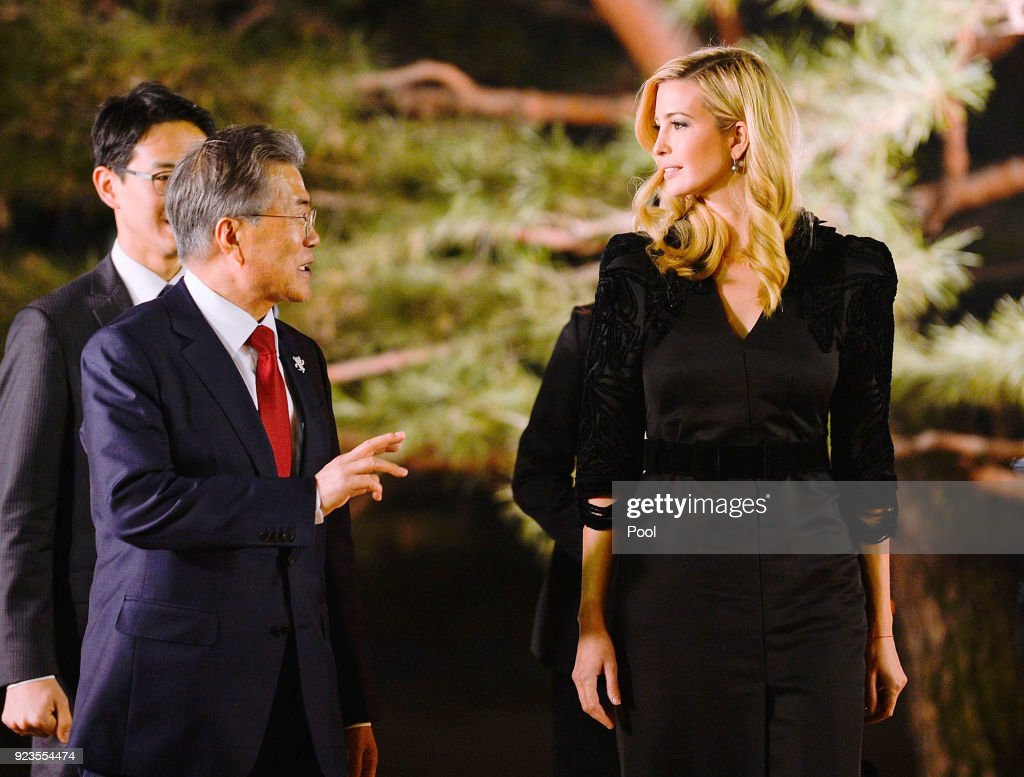 South Korean President Moon Jae-In (L) talks with Ivanka Trump (R) during their dinner at the Presidential Blue House on February 23, 2018 in Seoul, South Korea. Ivanka Trump is on a four-day visit to South Korea to attend the closing ceremony of the Pyeongchang Winter Olympics and to meet South Korean President Moon.