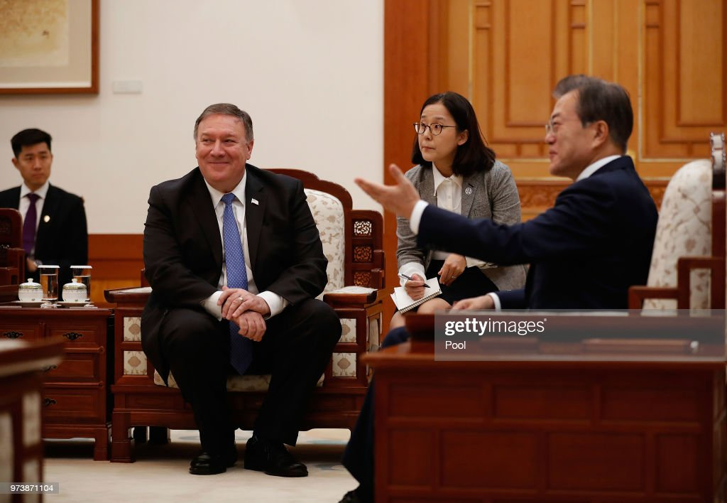 South Korean President Moon Jae-in talks with U.S. Secretary of State Mike Pompeo during their meeting at the presidential blue house June 14, 2018 in Seoul, South Korea. U.S. Secretary of State Mike Pompeo visited South Korea to meet South Korea's President Moon Jae-in and Japan's Foreign Minister following a landmark meeting between U.S. President Donald Trump and North Korean leader Kim Jong-un.