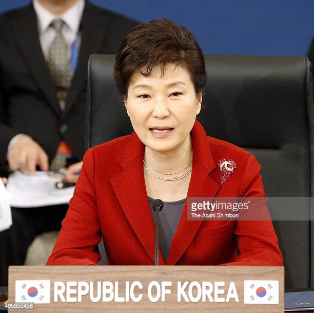 South Korean President Park Geunhye addresses during the trilateral summit between Japan South Korea and China at the presidential Blue House on...