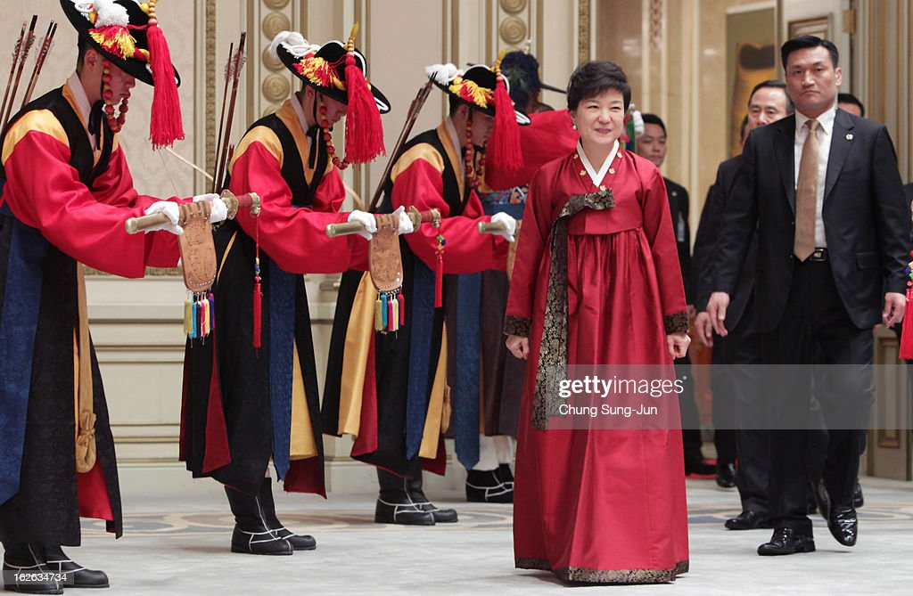 South Korean President Park Geun-Hye arrives during a dinner after inauguration ceremony at presidential house on February 25, 2013 in Seoul, South Korea. Park is sworn in as the first female president of South Korea.