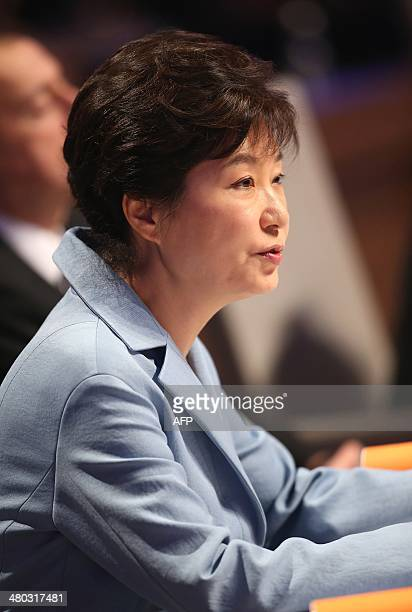 South Korean President Park Geunhye attends the opening session of the Nuclear Security Summit in The Hague on March 24 2014 AFP PHOTO/POOL/SEAN...