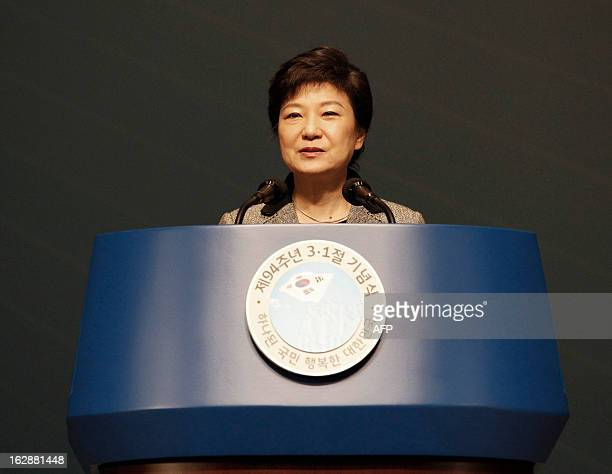 South Korean President Park Geun-hye delivers a speech during a ceremony to celebrate the March 1 Independence Movement Day, the anniversary of the...
