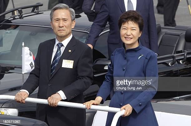 South Korean President Park Geun-Hye inspects the South Korean Army honor guard during the 65th South Korea Armed Forces Day ceremony at Seongnam...