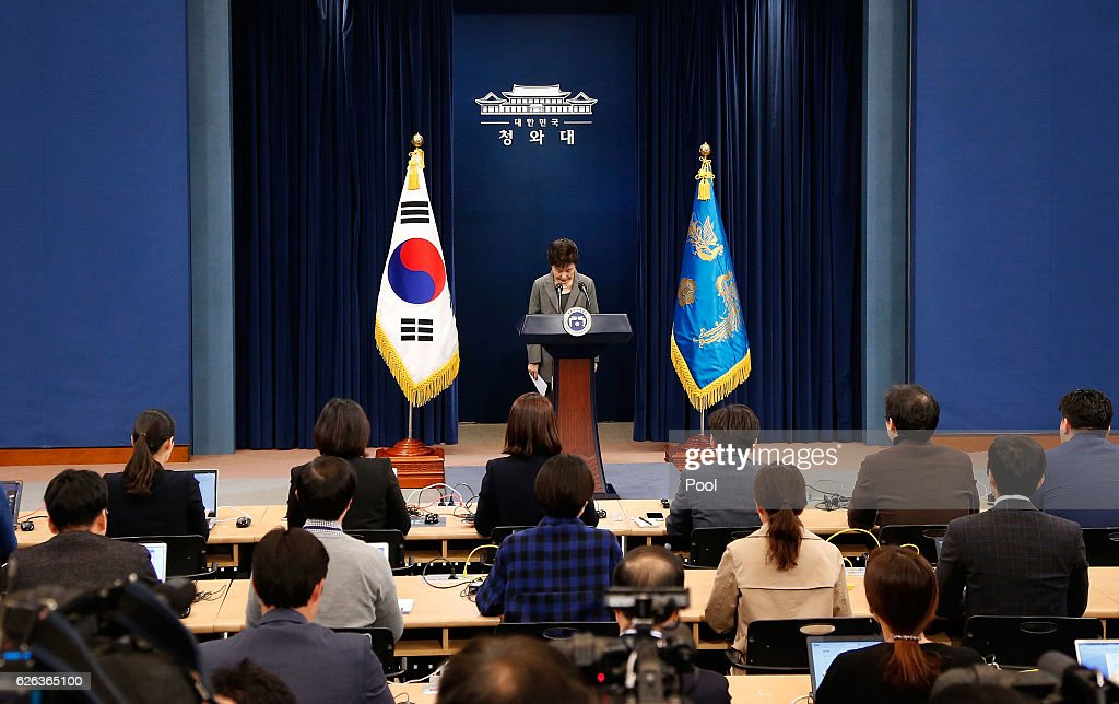 South Korean President Park Geun-Hye makes a speech during an address to the nation, at the presidential Blue House in Seoul on November 29, 2016. South Korea's scandal-hit President Park Geun-Hye said Tuesday she was willing to stand down early and would let parliament decide on her fate.