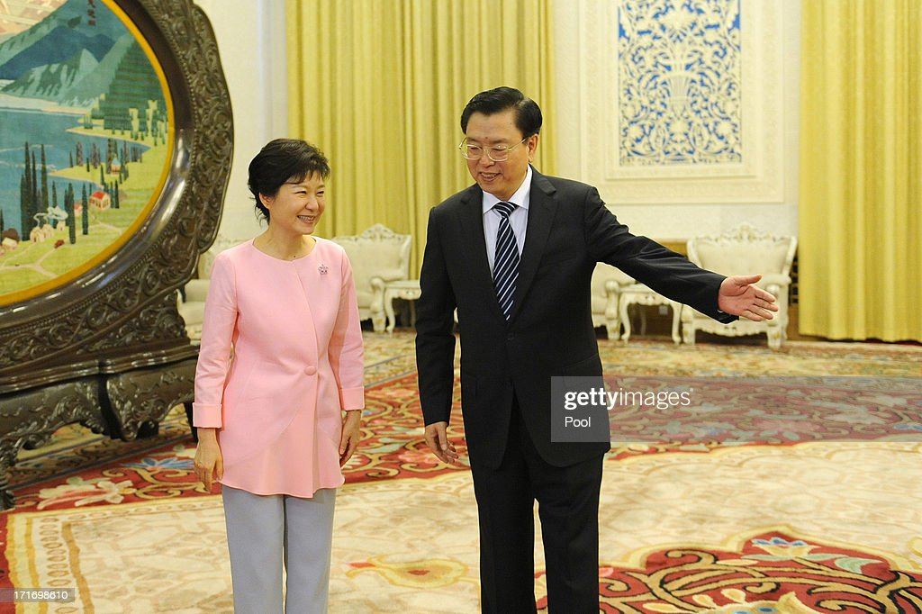 South Korean President Park Geun-Hye meets with Chinese Chairman of the National People's Congress Zhang Dejiang at the Great Hall of the People on June 28, 2013 in Beijing, China. South Korean President Park Geun-Hye is on a four-day visit to China.