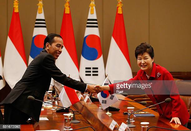 South Korean President Park GeunHye shakes hands with Indonesian President Joko Widodo during their meeting at the presidential Blue House on May 16...