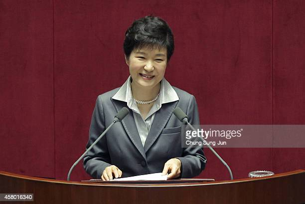 South Korean President Park Geun-Hye speaks at the National Assembly on October 29, 2014 in Seoul, South Korea. Park spoke on the government budget.