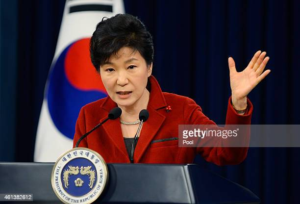 South Korean President Park Geun-Hye speaks during a press conference at the Presidential Office on January 12, 2015 in Seoul, South Korea. Park...
