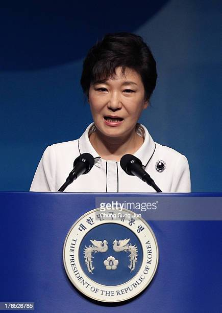 South Korean President Park Geun-Hye speaks during the 68th Independence Day ceremony at Sejong Art Center on August 15, 2013 in Seoul, South Korea....
