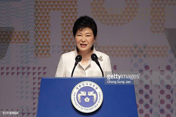 South Korean President Park Geun-Hye speaks during the 97th Independence Movement Day ceremony at Sejong Art Center on March 1, 2016 in Seoul, South...