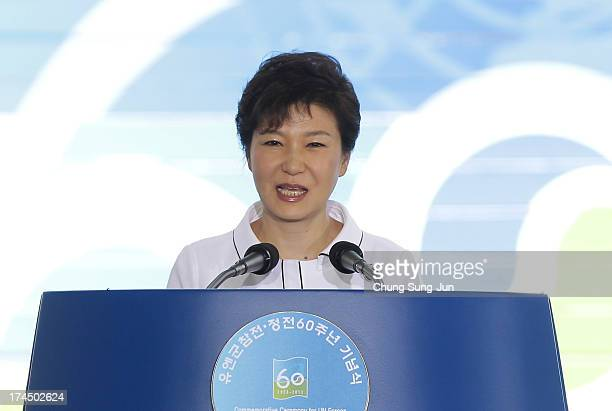 South Korean President Park Geun-Hye speaks during the ceremony to commemorate the 60th Anniversary of the Korean War Armistice Agreement at Korean...