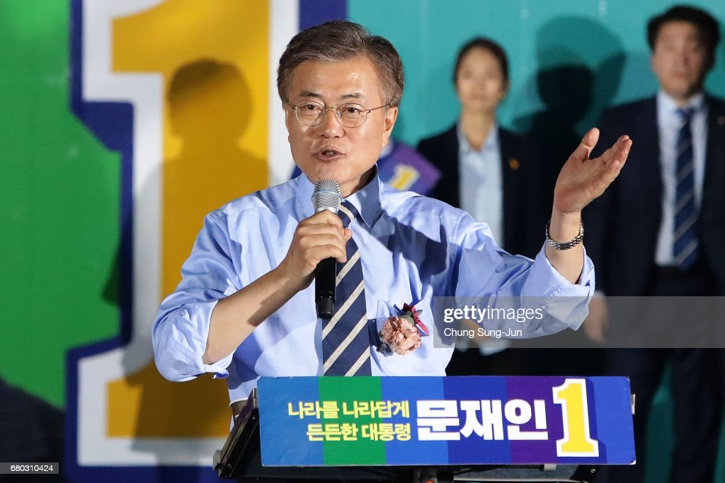South Korean presidential candidate Moon Jae-in of the Democratic Party of Korea, speech during a presidential election campaign on May 8, 2017 in Seoul, South Korea.