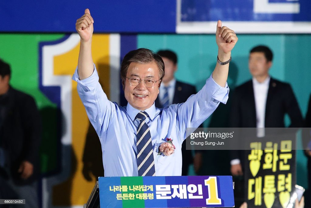 South Korean presidential candidate Moon Jae-in of the Democratic Party of Korea, cheer during a presidential election campaign on May 8, 2017 in Seoul, South Korea.