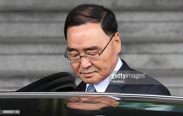 South Korean Prime Minister Chung HongWon leaves from the Central Government Complex on April 27 2014 in Seoul South Korea Chung Hongwon offered his...