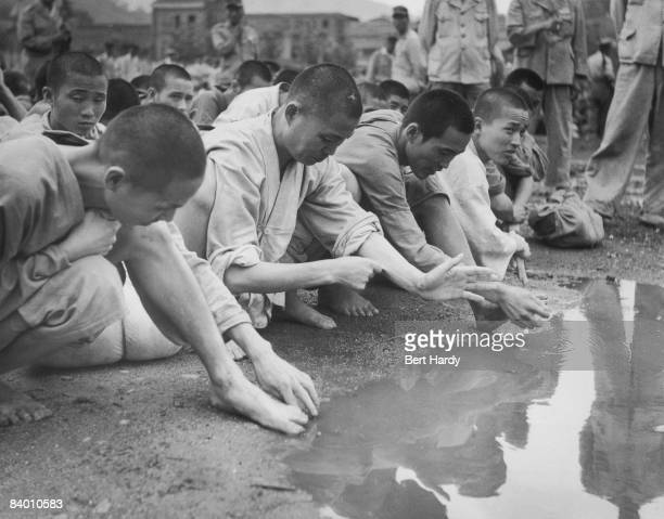 South Korean prisoners held by the South Korean army during the Korean War at Pusan where United Nations forces are based in South Korea September...