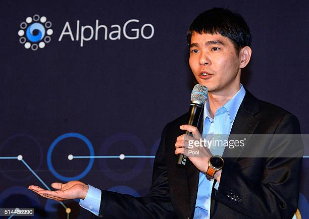 South Korean professional Go player Lee SeDol attends the press conference after the match against Google's artificial intelligence program AlphaGo...