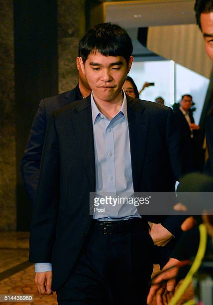 South Korean professional Go player Lee SeDol leaves after the match against Google's artificial intelligence program AlphaGo on March 9 2016 in...