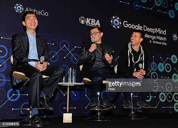 South Korean professional Go player Lee SeDol speaks during the press conference after fourth match against Google's artificial intelligence program...