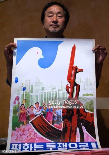 South Korean propaganda posters collector called Sang Kyun Choi National Capital Area Seoul South Korea on September 10 2017 in Seoul South Korea